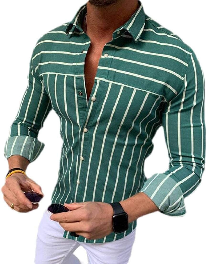 Domple Men Long Sleeve Casual Stripe Slim Button Front Shirts