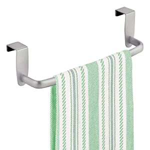 "mDesign Modern Kitchen Over Cabinet Strong Steel Towel Bar Rack - Hang on Inside or Outside of Doors - Storage and Organization for Hand, Dish, Tea Towels - 9.75"" Wide - Silver"