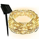 Dapenk Solar Outdoor String Waterproof Fairy Lights 100 LED 33FT Copper Wire Strip Lights (Warm White)