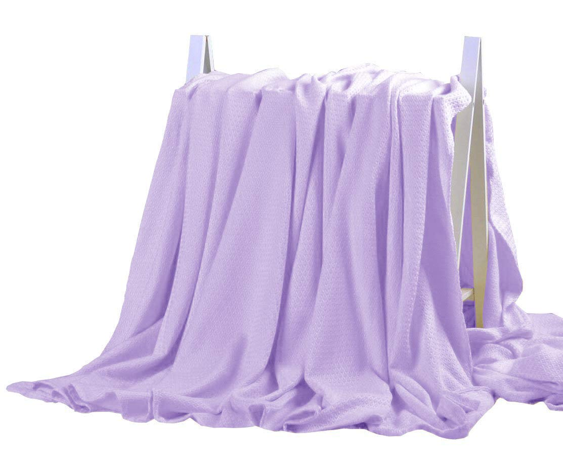 STFLY Bamboo Fiber Blanket Air Conditioning Cool Blankets Lightweight Cozy Summer Thin Quilt Bed Couch Sofa Throws for Kids Adults (79 x 91 inches, Purple)