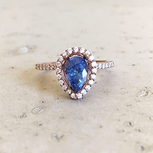 Amazon Blue Sapphire Engagement Ring Rose Gold Sapphire