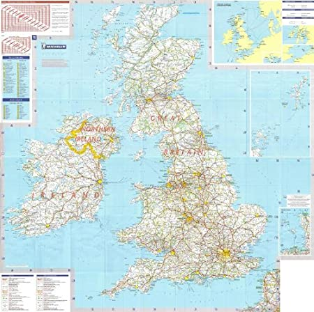 a - Encapsulated in Gloss Plastic Michelin National Wall Map of Ireland