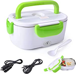 Electric Lunch Box Food Heater Warmer 2 in 1 for Home Office 110V and Car Truck 12V 40W Use Include 1.05L Removable Stainless Steel Container Spoon and 2 Compartments (Green)