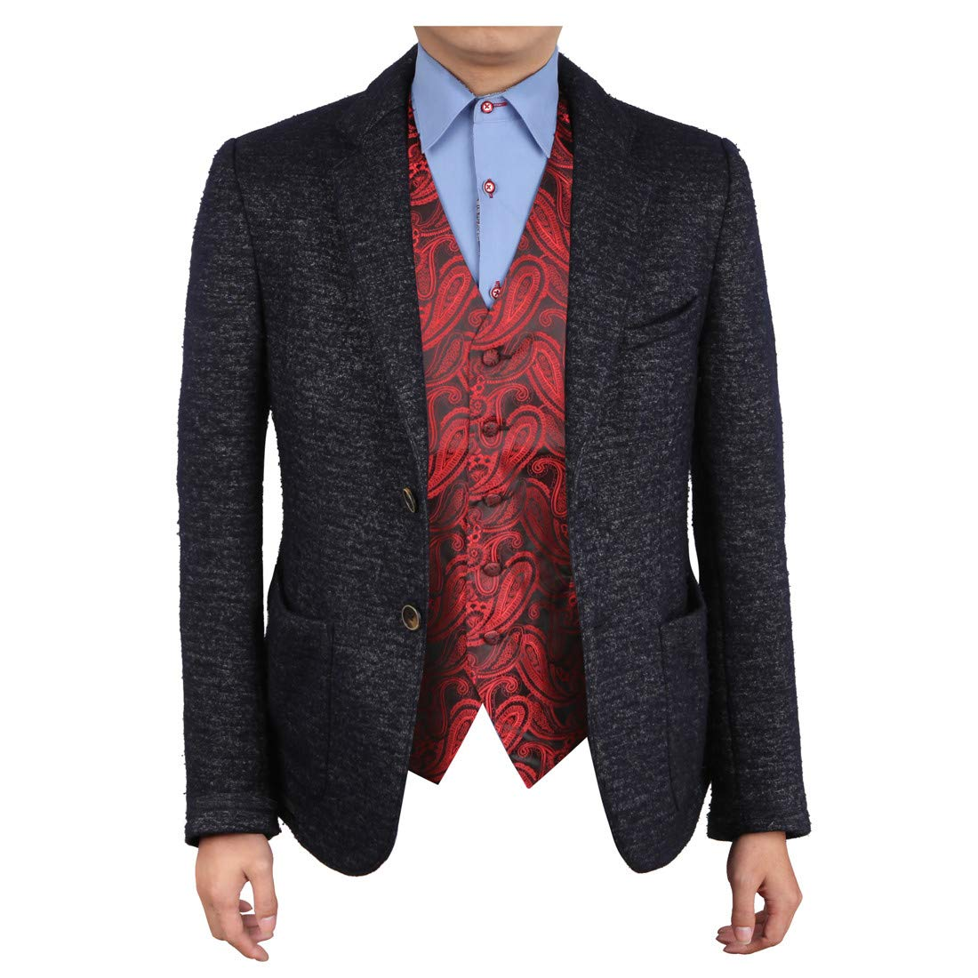 Epoint EGC1B07C-M Red Black Paisley Gifts for the Groom Waistcoat Woven Microfiber Absolutely Mens Vests Medium Vest by Epoint