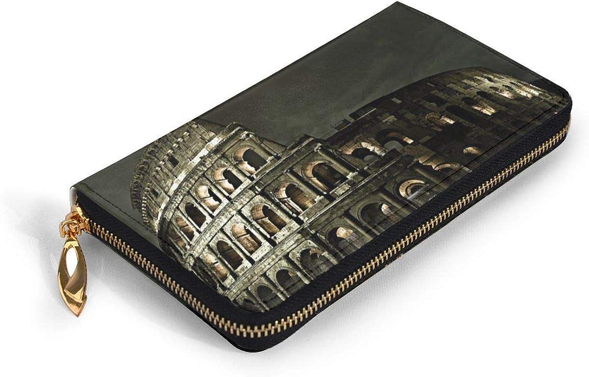 Women Genuine Leather Wallets Rome Competitive Credit Card Holder Organizer Ladies Purse Zipper Around Clutch Cash Pocket