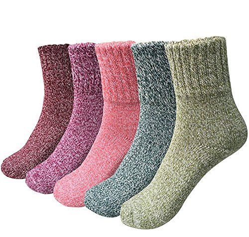 Holisouse Women's 5-Pairs Casual Vintage Style Winter Thick Knit Wool Warm Soft Crew Socks (Toe Winter Socks)