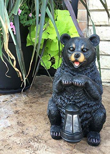 Rustic Garden Decorative Adorable Black Bear Holding Lant...