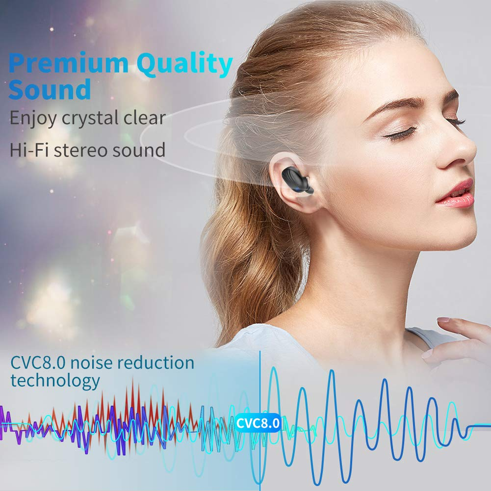 Wireless Earbuds, TWS Bluetooth 5.0 Wireless Headphones Auto Pairing【Wireless Charging Case】 IPX7 Waterproof Bluetooth Earbuds Built-in Mic 3D in-Ear Earbuds with Deep Bass Stereo for Running Sport by CTLYF (Image #3)