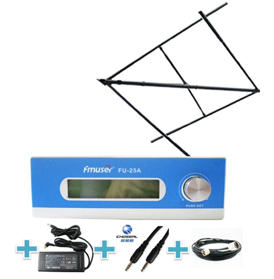 FMUSER 25W Long Range FM Transmitter Broadcast Set, 0-25W Power Adjustable Long Coverage Transmission, High Gain Circular Polarized Antenna Cable Set for Community Radio Station, 87-108mhz by fmuser