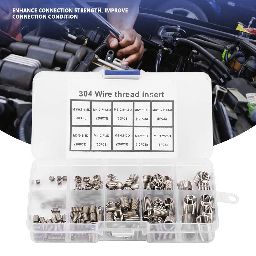 150pcs M3-M8 Stainless Steel SS304 Coiled Wire Helical Screw Thread Inserts Thread Repair Insert