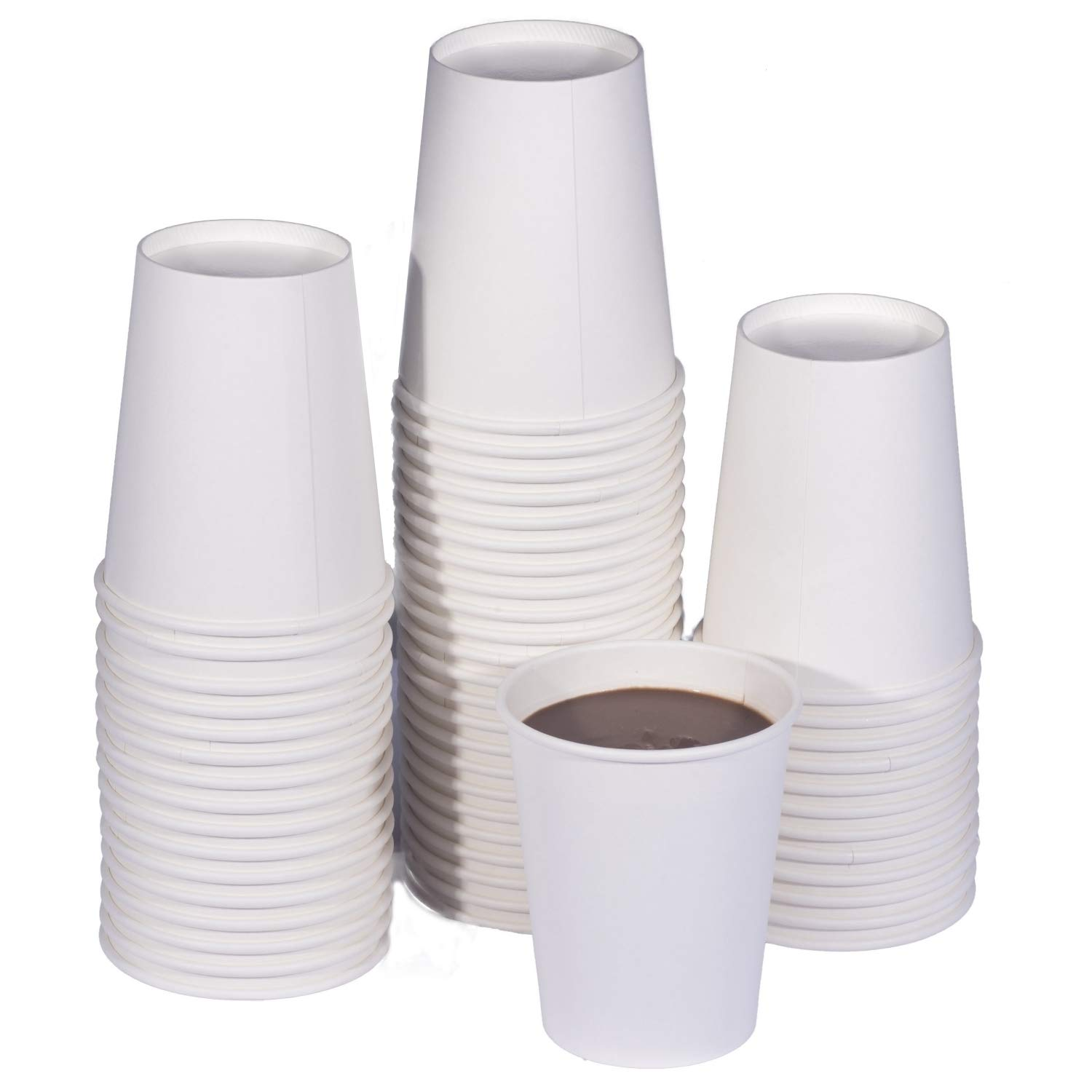TashiBox 8 oz White Hot Drink Paper Cups - 150 Count - Coffee, Tea, Hot Cocoa