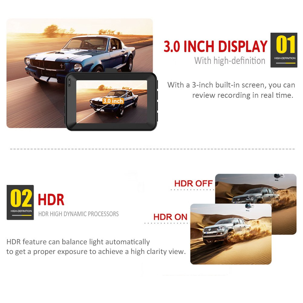 Dashboard Camera for Cars 1080P Full HD 3 Car Camera with 140 Degrees Wide Angle G-Sensor Loop Recording Parking Monitor Night Vision Dash Cam