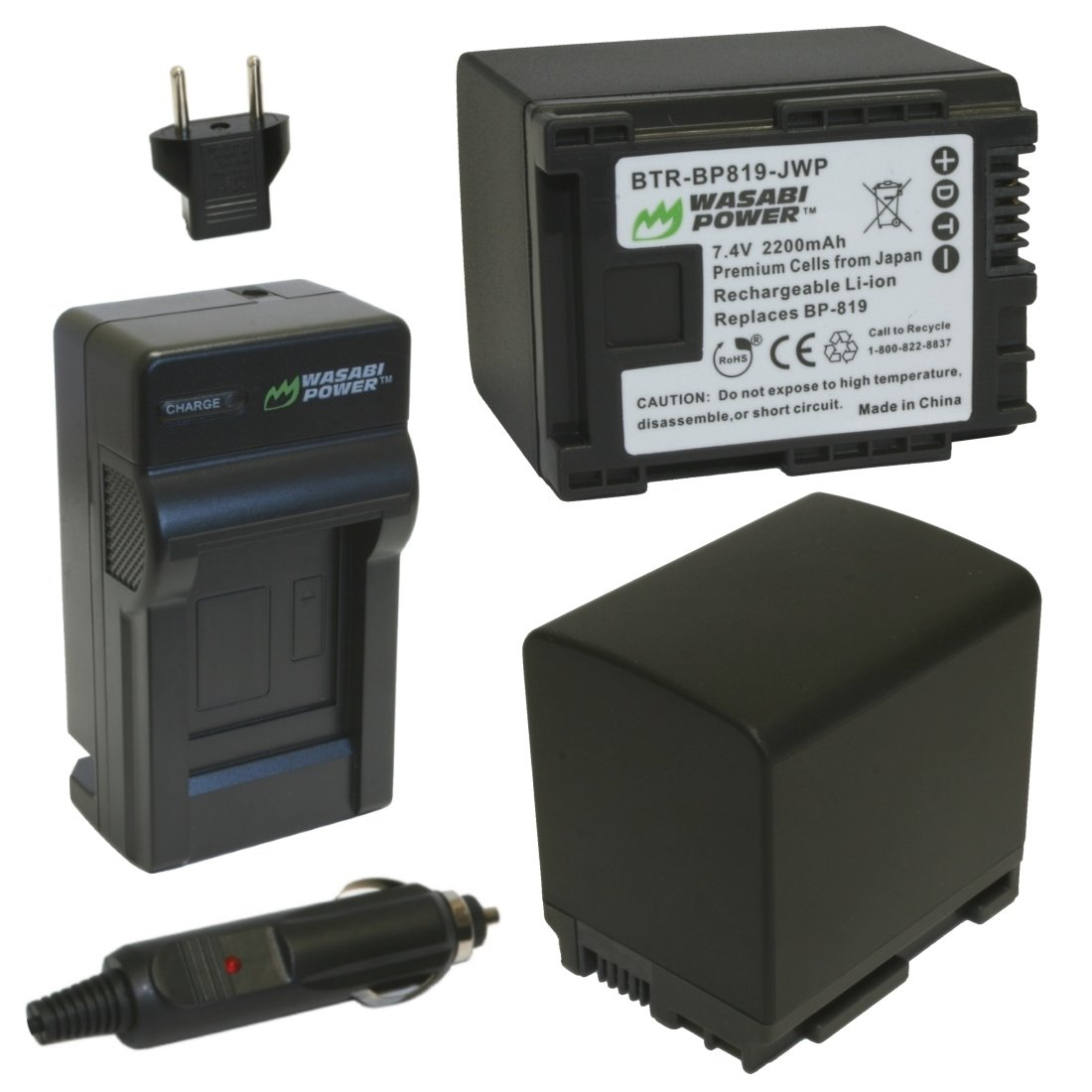 Wasabi Power Battery (2-Pack) and Charger for Canon BP-819 and Canon VIXIA HF10, HF11, HF20, HF21, HF100, HF200, HF G10, HF M30, HF M31, HF M32, HF M40, HF M41, HF M300, HF M400, HF S10, HF S11, HF S20, HF S21, HF S30, HF S100, HF S200, HG20, HG21, HG30, X