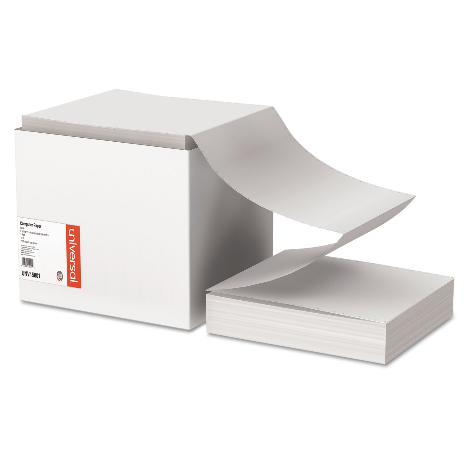 Universal 15801 Computer Paper, 18lb, 9-1/2 x 11, Letter Trim Perforations, White, 2700 Sheets