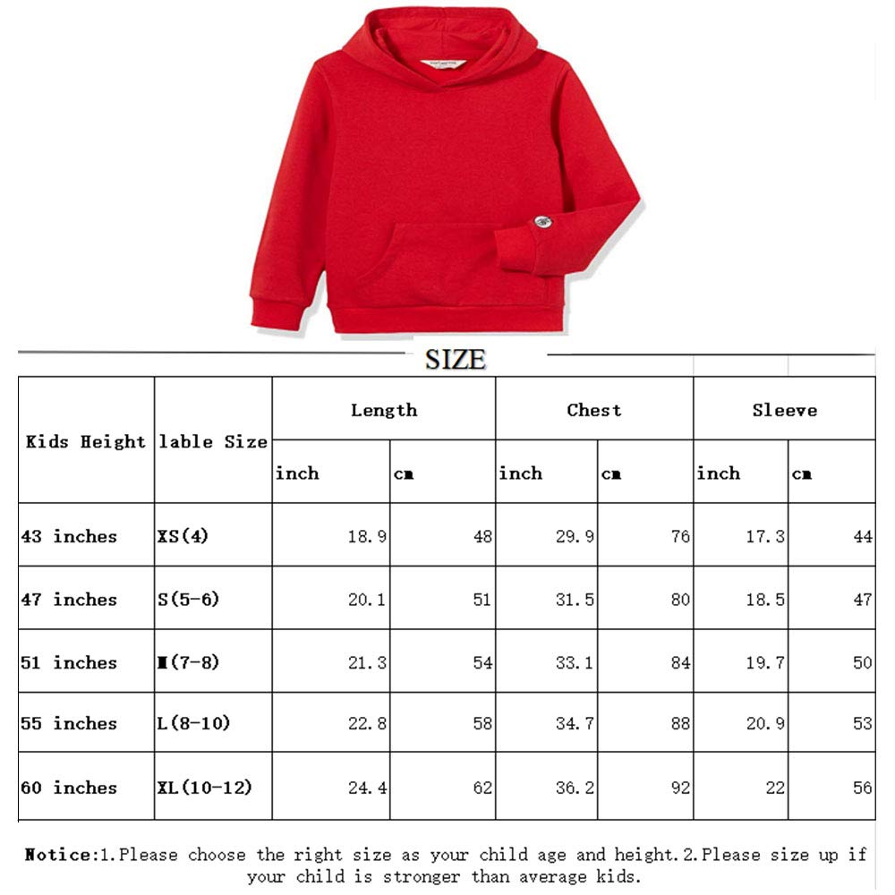 Kid Nation Kids' Soft Brushed Fleece Casual Basic Pullover Hooded Sweatshirt Hoodie for Boys or Girls XL Gray Heather