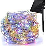 Solar String Lights Multi Color, Ankway 200 LED Fairy Lights 3-Strand Copper Wire Light 8 Modes 72 ft Solar String Lights Waterproof Twinkle Lights for Garden Patio Indoor Outdoor(Multi Color)