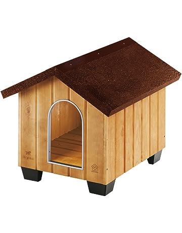 Feplast 87001000 Caseta de Exterior para Perros Domus Small, Robusta Madera Ecosostenible, Pies de