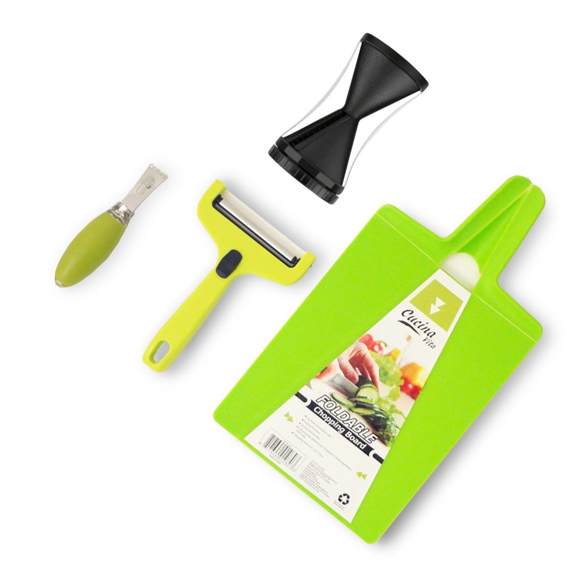 Top Vegetable Spiraler Cutter Slicer Small Green Folding Cutting Board Cheese Zester Kitchen Essential Birthday Present Idea Family Mom Dad Grandpa Brother Chef Cook Set Best Stocking Stuffer College by JCCentral (Image #1)