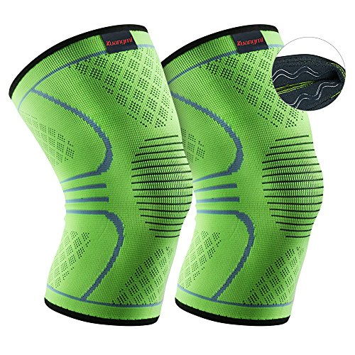 Kuangmi Knee Brace Compression Sleeve Sports Support Brace Pad for Running,Jogging,Basketball,Football Joint Pain Relief (Advanced Green, X-Large (Pack of 2))