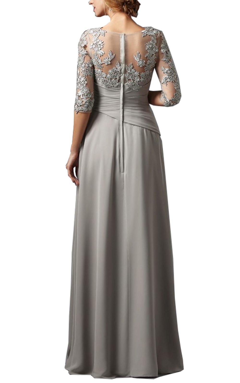 c5eab79e906 ... 3 4 Sleeves Chiffon Lace Mother of The Bride Dress Plus Size Elegant Groom  Mother Dresses Wedding(US14