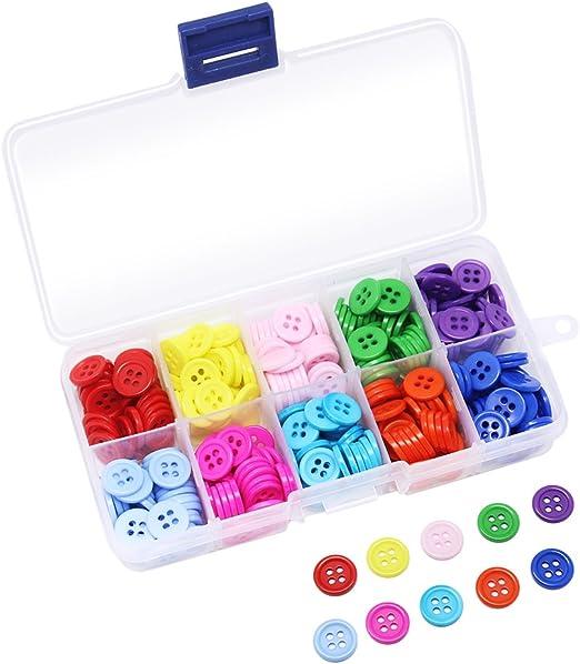 350 botones de resina para costura de Hysagtek, con 4 agujeros, 10 colores mezclados con caja de plástico: Amazon.es: Hogar