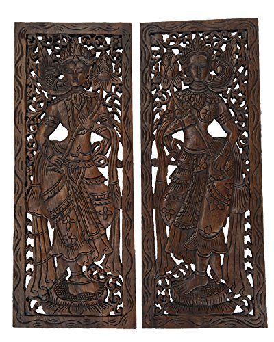 Set of 2. Large Carved Wood Wall Art Panel. Asian Home Decor Wood Wall Plaque. Lady with Lotus Flower. Dark Brown Finish, Size 35.5