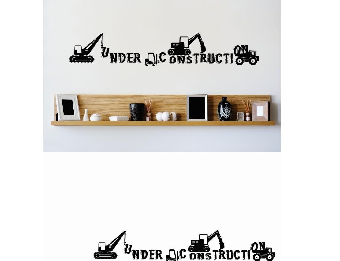 Design with Vinyl 1 Zzz 225 Decor Item Under Construction Equipment Trucks Wall Decal Sticker 6 x 24-Inch Black
