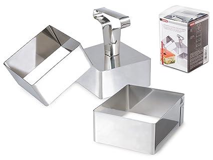Home Professional Set 3 Moldes para Cortar Galletas, Quadro, 8 cm, Acero Inoxidable