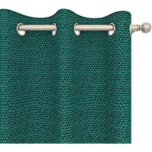 "Roxanne Basket Weave Textured Heavyweight Curtain Panel, Blue Teal, 84"" L x 52"" W Grommet, Room Darkening"
