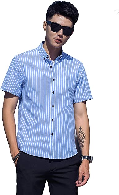 TeamWorld Camisa Informal a Cuadros de Manga Corta para Hombre, Verano Moda Casual Camisa Rayas de Cambray de Manga Corta para Hombre: Amazon.es: Ropa y accesorios