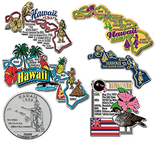 Six-Piece State Magnet Set - Hawaii by Classic Magnets