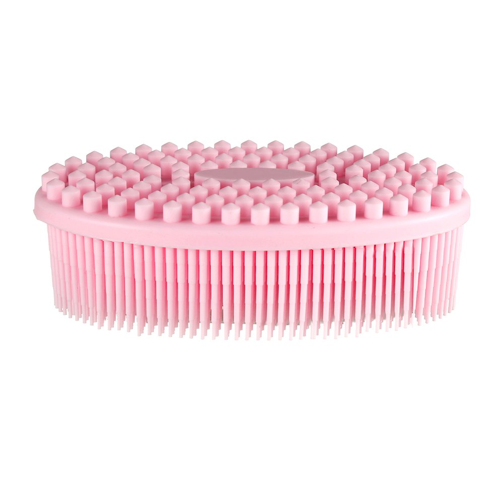 Body Brush Pretty See Silicone Bath Shower Massage Scrubber Cellulite Dry Brush for Cellulite Treatment & Skin Exfoliation,Pink