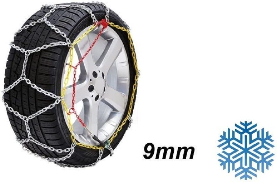 Catene da neve a rombo da 9mm Omologate ONORM V5117 Pneumatico 165//60R15