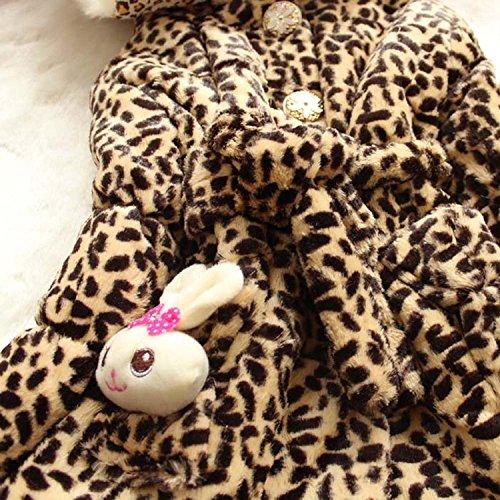 EGELEXY Baby Girls Faux Fur Leopard Hoodies Coat Kids Winter Warm Jacket 3/4T Leopard by EGELEXY (Image #2)