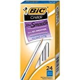 BIC Cristal Xtra Smooth Ballpoint Pen, Medium Point (1.0mm), Blue, 24-Count