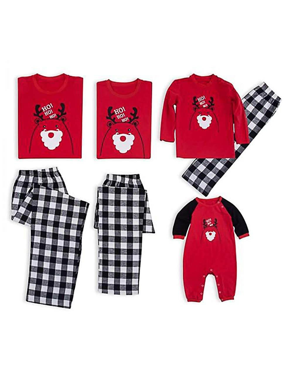 BESBOMIG Xmas Family Matching Christmas Pajamas Set - Breathable Top and Long Pants