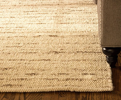 Super Area Rugs Soft Wool Textured Pebble Berber Mid-Century Modern Rug 4' x 6', Natural Ivory