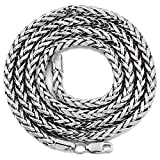 Mr. Bling 10K White Gold 4mm 18'' Palm Open Hollow Wheat Chain Necklace, with Lobster Lock