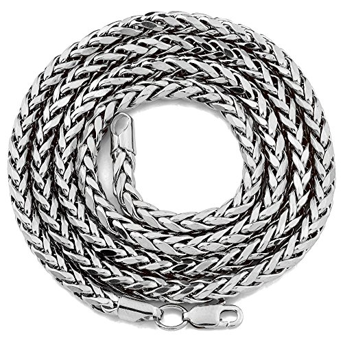 Solid Chain Wheat Platinum - LOVEBLING 10K White Gold 4mm 24