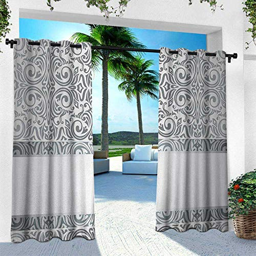 - Hengshu Silver, Outdoor Curtain Waterproof Rustproof Grommet Drape,Baroque Damask Curves Rococo Style Motifs Floral Renaissance Revival Design, W96 x L108 Inch, Grey Pale Grey