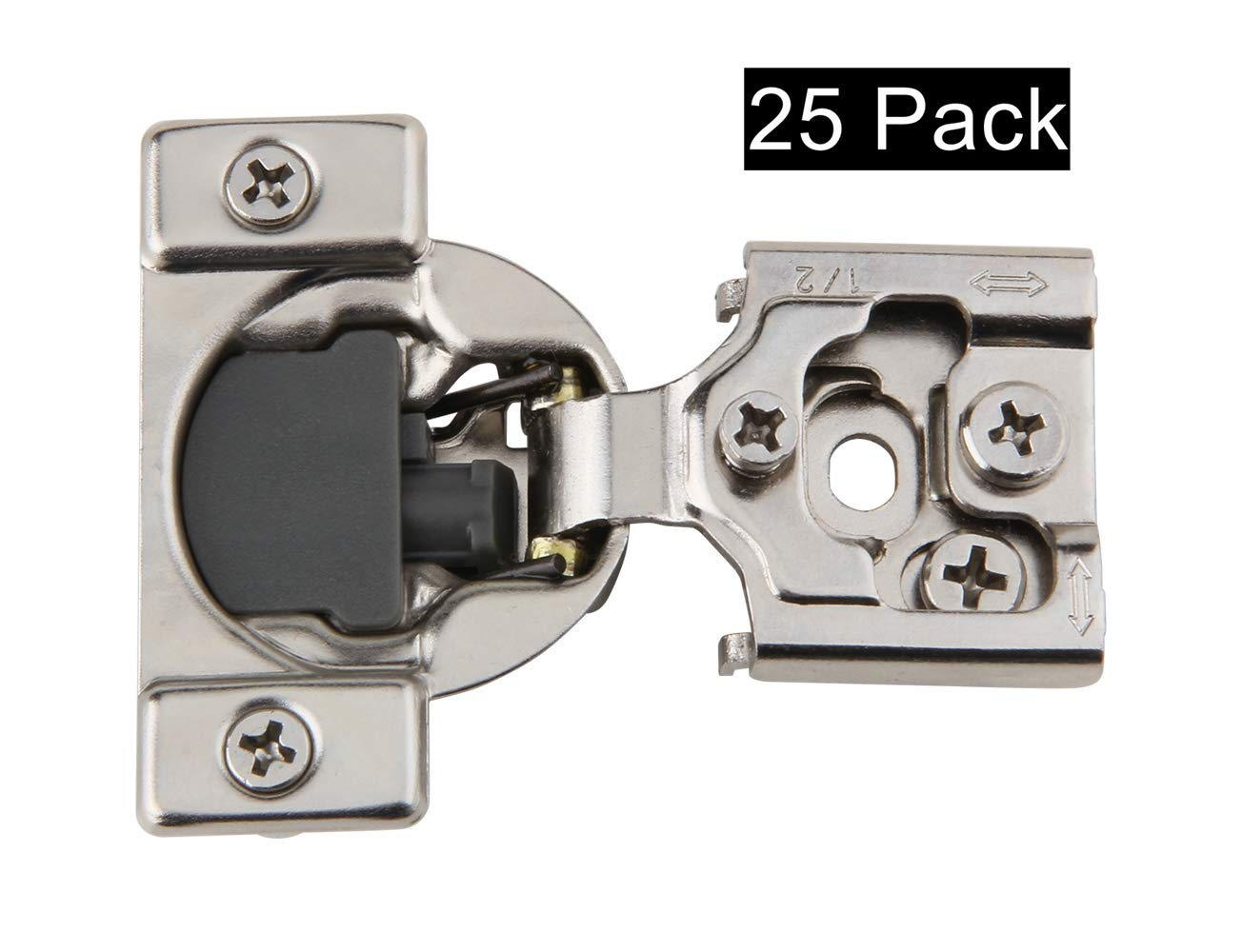 Silverline SCH105S Soft Close Hinge, 3 Way Adjustable, 1/2'' Overlay Face Frame, Nickel Plated 25 Pack