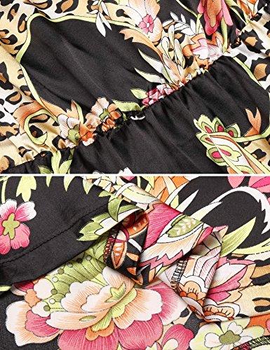 2405f6a8a599b5 ... Kleid Acevog Mit A-linie Minikleid Damen Strandkleid Blumen Schulterfrei  Volants Sommer Bandeau Schwarz