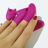 Coscelia 10 pc Silicona Nail Art Belleza Equipo Soak Off Cap Clip Gel UV Nail Polish Remover (rojo mascurino)