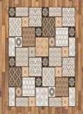 Arabian Area Rug by Lunarable, Colorful Patchwork Art Oriental Patterns Ornaments Cultural Illustration Print, Flat Woven Accent Rug for Living Room Bedroom Dining Room, 4 x 6 FT, Brown Cream