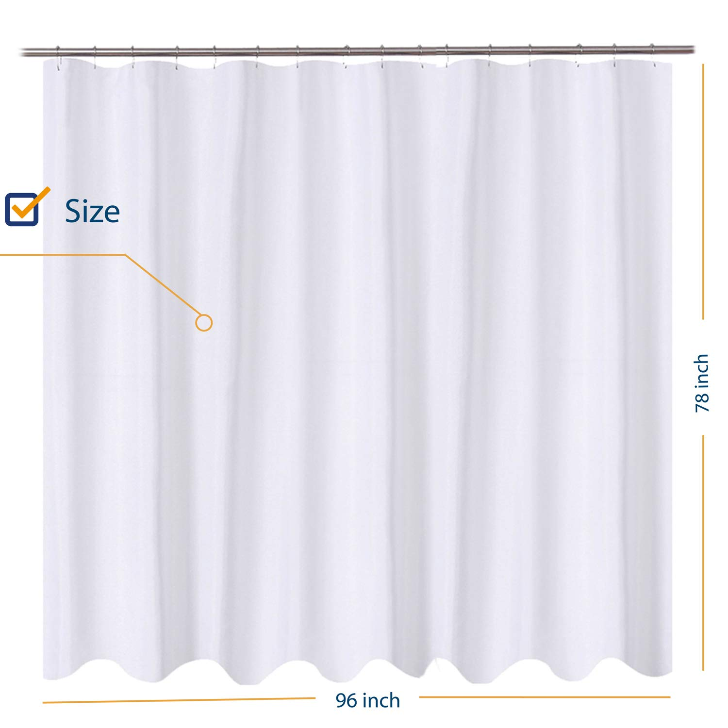 NY HOME Fabric Shower Curtain Liner Oversize 96 X 72 Inch Hotel Quality Mildew Resistant Washable Water Repellent White Bathroom Curtains With