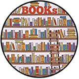 Printing Round Rug,Modern,Library Bookshelf with A Ladder School Education Campus Life Caricature Illustration Mat Non-Slip Soft Entrance Mat Door Floor Rug Area Rug For Chair Living Room,Multicolor