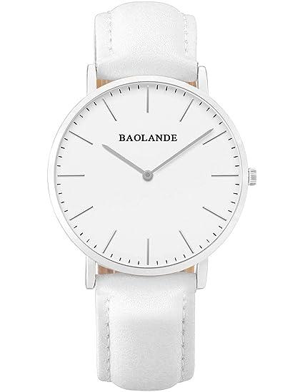 Alienwork Reloj cuarzo elegante relojes mujer moda Diseño intemporal Piel de vaca plata blanco U04815L-