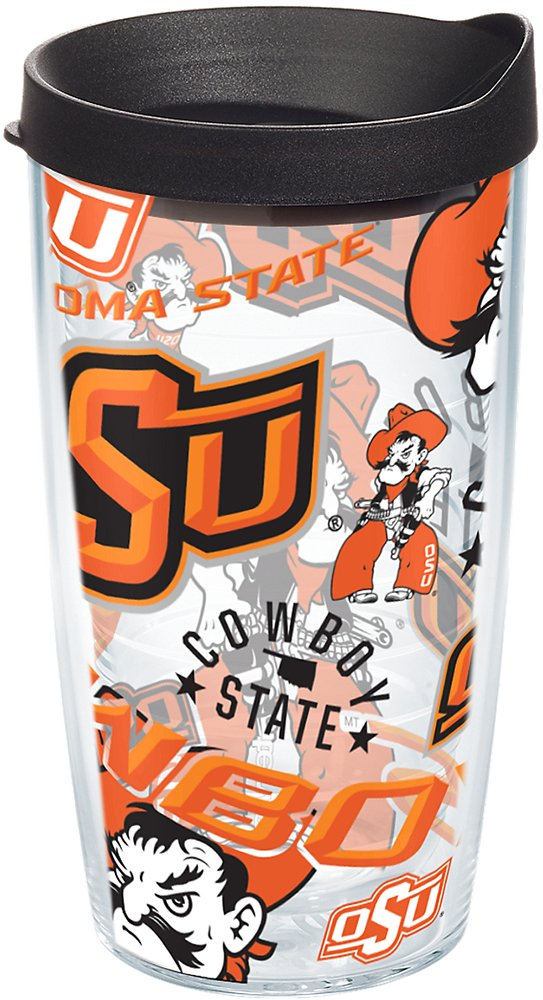 Tervis 1251666 Oklahoma State Cowboys All Over Insulated Tumbler with Wrap and Black Lid 10oz Wavy Clear