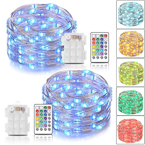 Tesyker 2 Pack Fairy Lights Battery Operated String Lights, Color Changing Lights for Bedroom Battery Lights 16.4 Ft 50 LEDs, Fairy Lights with Remote for Patio Tree Indoor Costume, 16 -