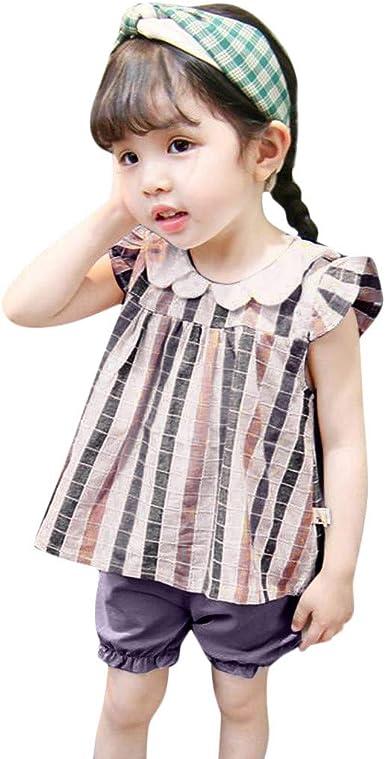 Mitlfuny Niños Camisetas de Manga Corta Verano Ropa de Princesa Rayas Cuadros Tops para Bebé Niña Niño Casual Collar de Muñeca Volantes Blusas de Algodón Negro Camisas 1-5 Años: Amazon.es: Ropa y